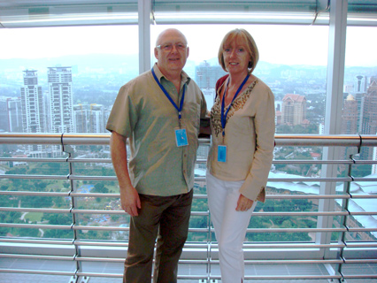 Tony and Jacqui at the Petronas tower in Malaysia